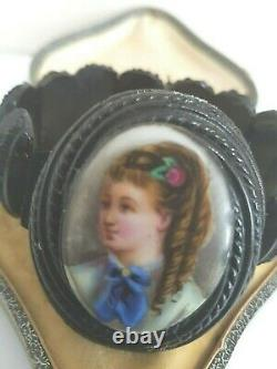 Antique Victorian Jet Painted Cameo Cuff Bracelet 1880 Goth Mourning