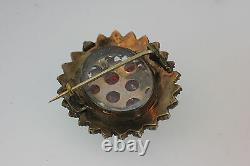 Antique Victorian Late 1800's Red Bohemian Garnet Mourning Brooch Pendant Locket