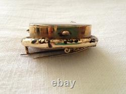 Antique Victorian Mourning Brooch, 10K rolled gold, enamel, hair, pearl tears