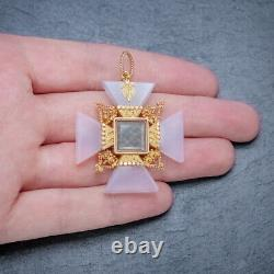 Antique Victorian Mourning Cross Pendant Etruscan Revival Agate 18ct Gold
