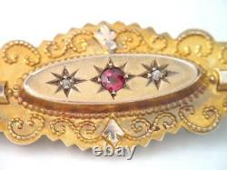 Antique Victorian Mourning Etruscan Solid 9k Gold Rose Cut Diamond & Ruby Brooch