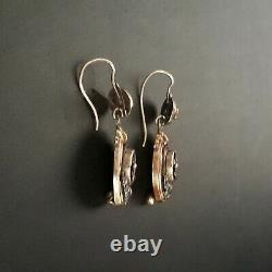 Antique Victorian Mourning Memento Mori Earrings Gold and Enamel with Seed Pea