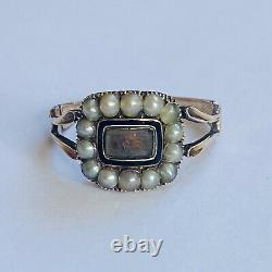 Antique Victorian Pearl & Enamel 18ct Gold Hallmarked Mourning Ring