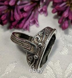 Antique Victorian Sterling Silver Black Vulcanite Cameo Ring Mourning Size 8.5