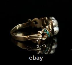 Antique Victorian mourning ring, turquoise, diamond, pearl, forget me not, 18ct