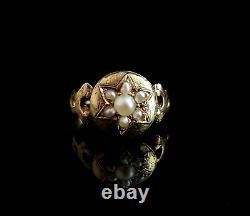 Antique pearl mourning ring, star, 15ct gold, Victorian locket ring