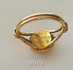 BEAUTIFUL ANTIQUE VICTORIAN CIRCA 1850's 18K GOLD HAIR MOURNING RING