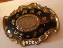 C 1880 In Memory Hair Victorian Antique Enamel Gold Scroll Pin Mourning Estate