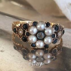 Dated 1793 British Seed Pearl 18K Yellow Memorial Mourning Ring Size 10