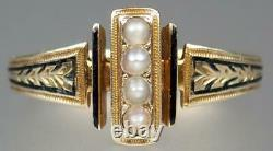 Exquisite Antique Victorian 10K Rose Gold Enamel Pearl Floral Mourning Ring 6.5