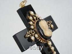 FINE VICTORIAN 15K GOLD with SEED PEARL ACCENT CAMEO ONYX MOURNING CROSS PENDANT