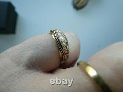 Fine Rose Gold 15ct Victorian split seed pearl antique ring 1889 Mourning