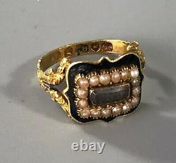 George III 18ct Yellow Gold & Enamelled Mourning Ring 1830 Size K. 5 BZX