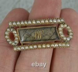 Georgian 12ct Rose Gold Seed Pearl and Braided Mourning Brooch