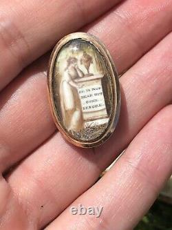 Georgian Antique Sepia Miniature Brooch Mourning Pin Gold He Is Not Dead Gone