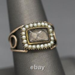 Georgian Mourning Ring with Plaited Hair and Pearls in 10k Rose Gold