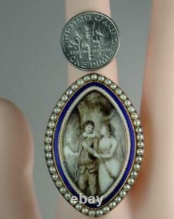 HUGE Antique Georgian Gold Pearl Blue White Enamel Lovers Hunting Mourning Ring