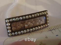 Hair Victorian Mourning Jewelry Seed Pearl Braid Bar Pin Brooch Antique Estate