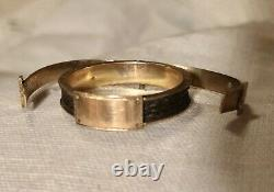 Lovely Antique Victorian 10k Gold Hinged Mourning Ring W Concealed Braided Hair