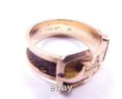 Mourning ring Chester 1896 9 carat gold superb hair buckle