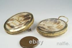 PAIR ANTIQUE FRENCH 14K GOLD SEPIA & HAIR WORK MINIATURE MOURNING LOCKETS c1780