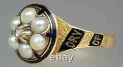 Pretty Antique Victorian 18K Gold Diamond Enamel Pearl Floral Mourning Ring 6.5
