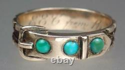 Pretty Antique Victorian 9K Gold Turquoise Woven Hair Buckle Mourning Ring Sz 7