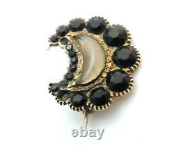 RARE Antique Georgian Mourning Brooch George IV Jet Hair Pin 14k Yellow Gold
