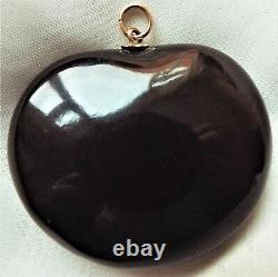 RARE Antique VICTORIAN Chestnut Seed Pearl E Mourning Pendant for Necklace