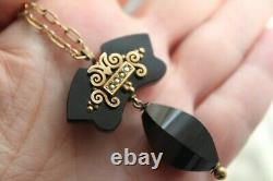 RARE Victorian 12 k Gold Filled Onyx & Pearl Applique Pendant MOURNING Necklace