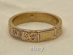 RARE Victorian Memento Mori Locket Poison Hand Carved Mourning Ring 10k Gold