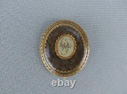 Rare Antique 18th or early 19th C 18K Gold Georgian Woven Hair Mourning Pin