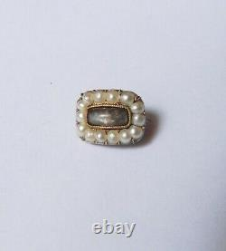 Rare Antique VICTORIAN Era 14K Gold & Seed Pearl Mourning HAIR Brooch