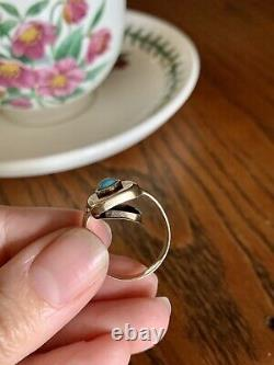 Rare VICTORIAN Antique LOCKET Ring 14k Gold Turquoise Mourning Wide Band Poison