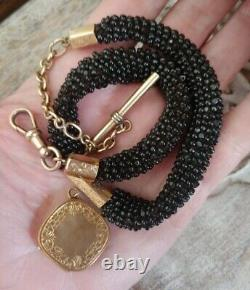 Rare Victorian Watch Fob Braided Hair withjet Gold Mourning Locket Necklace EUC