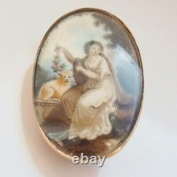 Stunning Antique Georgian 9ct Rose Gold Sepia Painted Mourning Brooch c1800