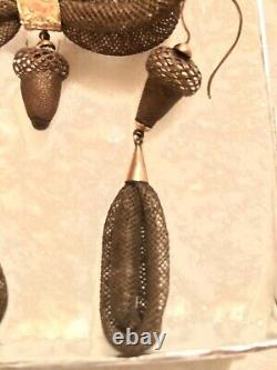 Stunning Antique Victorian Mourning Hair Acorn Earrings And Brooch Set14k Gold