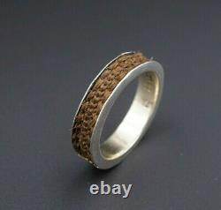 Swedish Victorian Sterling 9K Gold Mourning Ring Band Size 11.25 1884 6mm RS2570