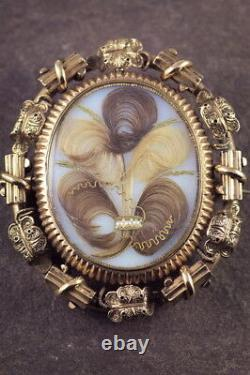 UNUSUAL ANTIQUE VICTORIAN ENGLISH 15K GOLD 5-PERSON MOURNING LOCKET BROOCH c1870