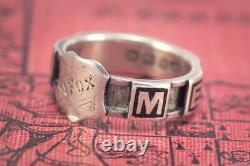 UNUSUAL ANTIQUE VICTORIAN ENGLISH SILVER ENAMEL MEMORY MOURNING BAND RING c1884