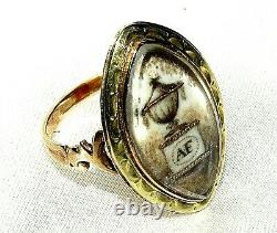 Unique Antique Georgian Afinitials Memmorial Yellow Gold Mourning Ring Size M