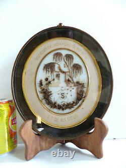 VERY LARGE ANTIQUE RELIQUARY SENTIMENTAL MOURNING HAIR ART w. TOMB 1890's