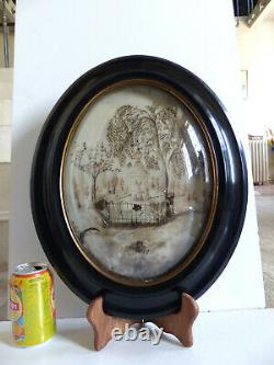 VERY LARGE ANTIQUE RELIQUARY SENTIMENTAL MOURNING HAIR ART w. TOMB dated 1876