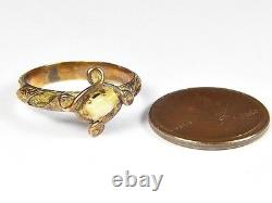 VERY RARE ANTIQUE ENGLISH 9K GOLD VICTORIAN MOURNING RING with MILK TOOTH & HAIR