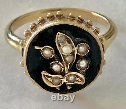 Victorian 14 Karat Gold Seed Pearl With Black Enamel Mourning Ring