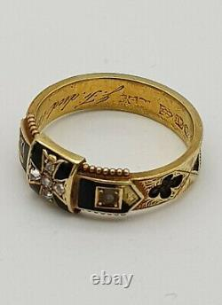 Victorian 15ct Gold, Black Enamel, Diamond And Seed Pearl Mourning Ring