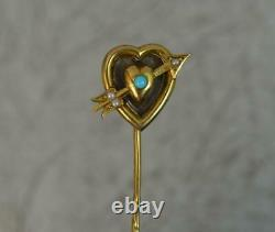 Victorian 15ct Gold Heart Arrow Locket Mourning Stick Tie Pin t0647