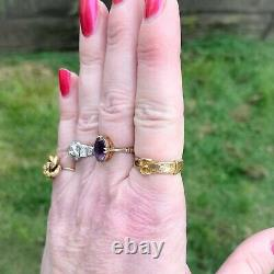 Victorian 15k Gold Mourning Buckle Ring 6.5