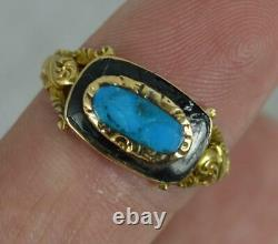 Victorian 18 Carat Gold Turquoise Enamel Mourning Cluster Ring