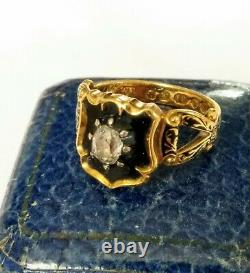 Victorian 18ct Gold Old Cut Diamond Enamel Mourning ring. Very Rare